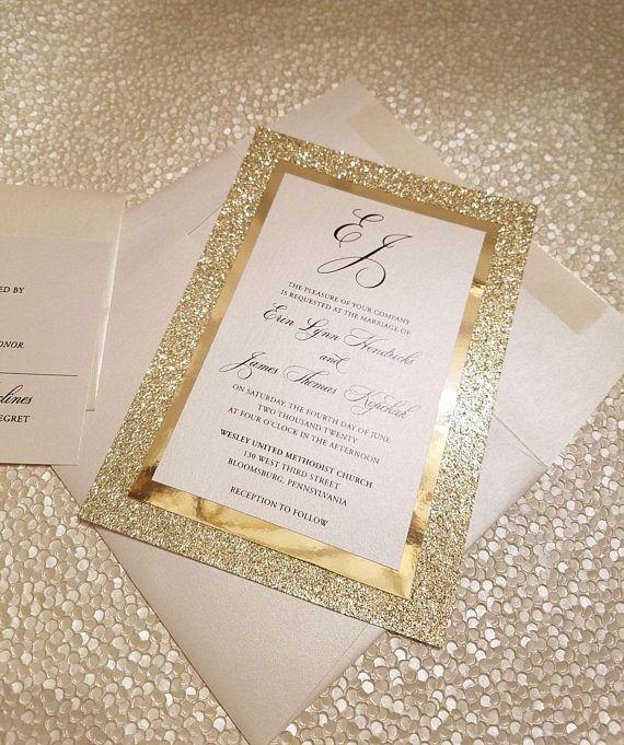 776ea75befdb Gold Glitter Wedding Invitation Glitter Wedding Invitation