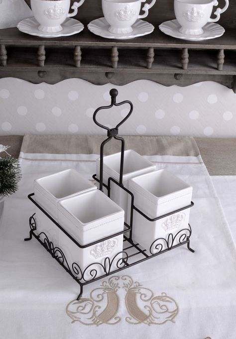 Besteckkasten Set Besteckkorb Porzellan Weiss Besteckhalter Shabby