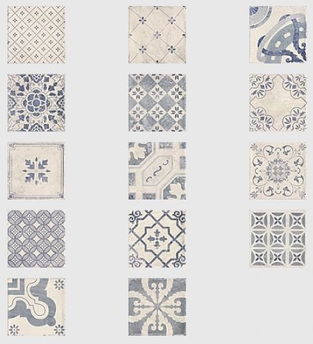 Parisian Blue Chic Decor Mix Floor Tile 20x20cm  £35sqm These patchwork floor tiles complete the Parisian Chic range. With there off white colour, matt texture and patchwork designs they are perfect for any bathroom or kitchen