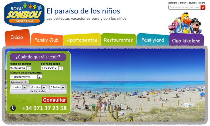 Web del Royal Son Bou Family Club Menorca. Web de hotel.