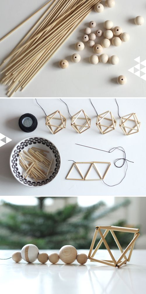 Christmas decoration Inspired by the Finnish traditional straw Himmeli - add wooden beads half painted white