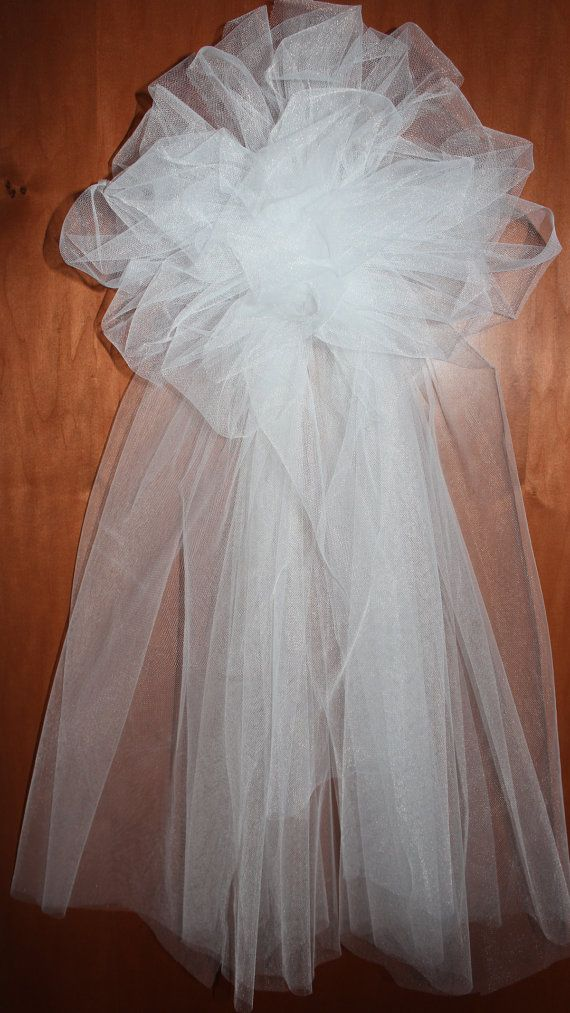Tulle Bows With Full Tails For Church Pews Or Chairs