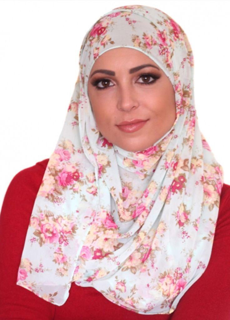 Chiffon floral hijab www.uniquehijabs.com