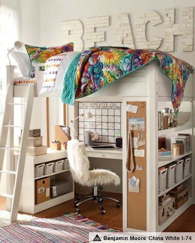 Sleep + Study Watercolor Bedroom | PBteen I wonder if I could turn my loft bed into this.