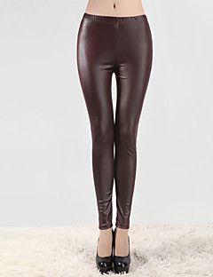 Kadın PU İnce Polyester / PU / Spandeks Kadın Legging