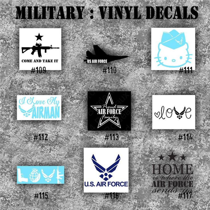 Military vinyl decals 109 117 vinyl stickers car window decal personalized
