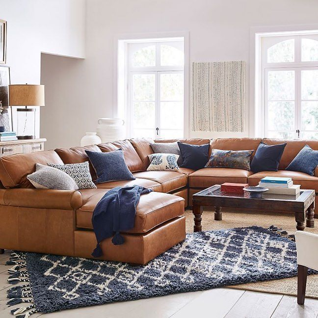Ready For The Awards Mypotterybarn Potterybarn Sundaynight Inter Leather Sectional Living Room Leather Couches Living Room Farm House Living Room #pottery #barn #living #room #furniture