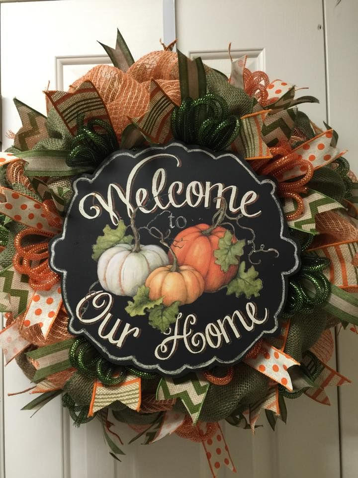 Welcome to our Home Fall deco mesh wreath by Twentycoats Wreath Creations (2015)