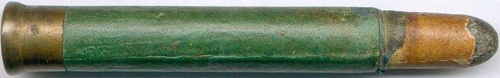Muchos cartuchos de los primeros tiempos se fabricaron con vainas semimetálicas, como este  13x87R para la ametralladora de 25 cañones De Reyffe. Aparte del menor coste, la flexibilidad del papel/cartón mejoraba la estanqueidad a los gases en el momento del disparo. Hoy parece un detalle poco importante, pero las tolerancias de la fabricación semi artesanal de la época aconsejaban este tipo de medidas.