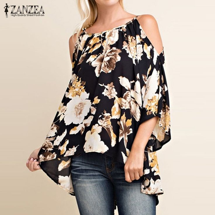 Cheap shirt italian, Buy Quality shirt folder directly from China shirt machine Suppliers: Plus Size 2017 ZANZEA Women Sexy Blouses Shirts Ladies Sexy Off Shoulder 3/4 Flare Sleeve Blusas Tops Elegant Print Pullovers