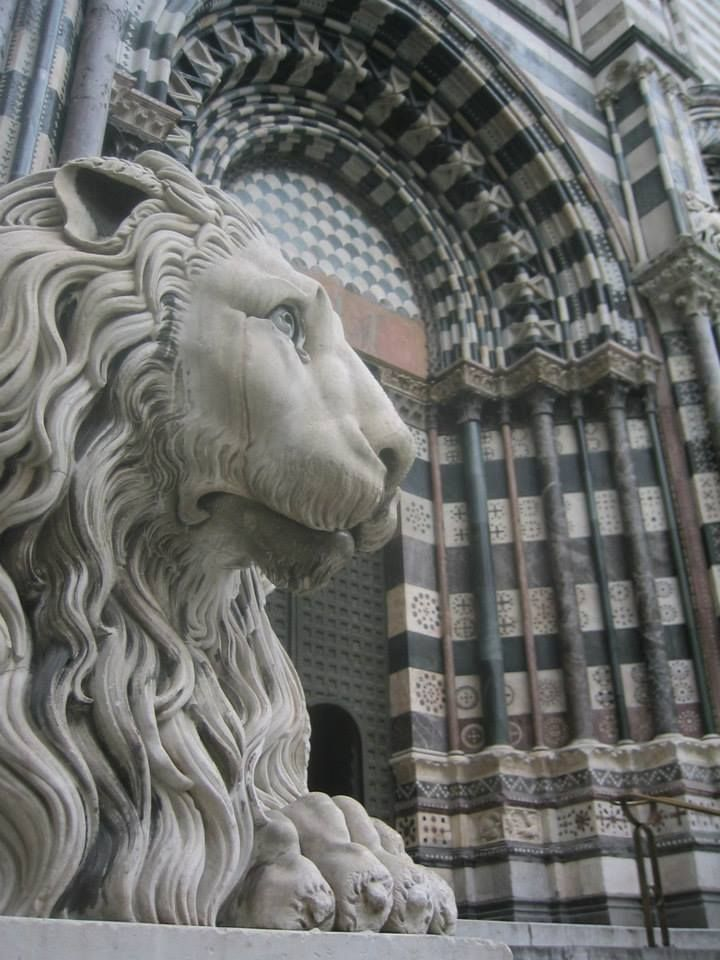 Genoa - a detail of the San Lorenzo Cathedral facade.