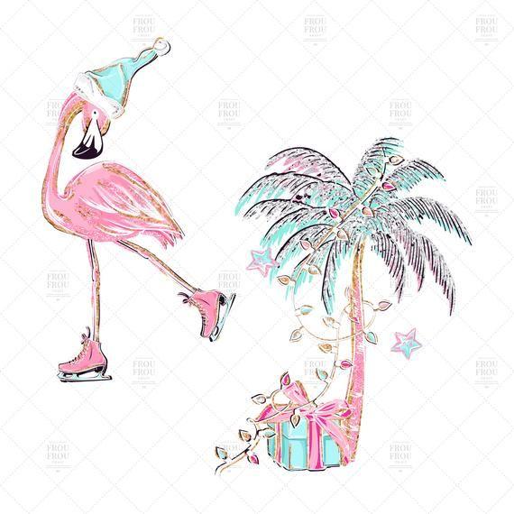 40+ Christmas Flamingo Clipart Image