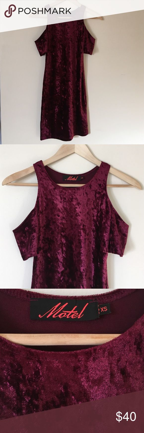 Motel Rocks party dress Crushed velvet. Perfect party dress for NYE. Peek-a-boo shoulders. Excellent condition. Nasty Gal Dresses Mini