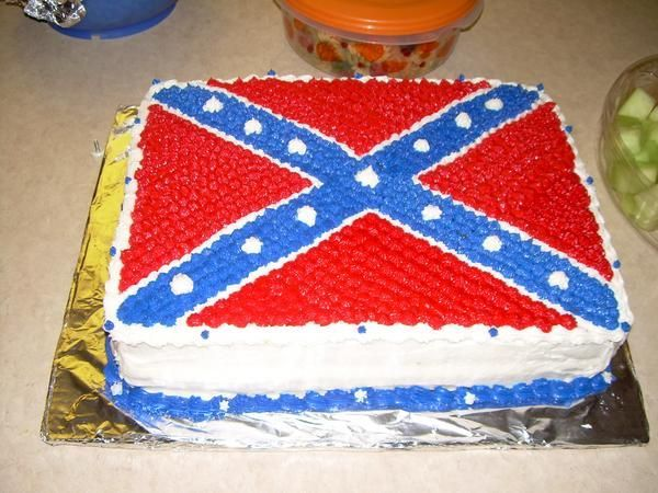 Rebel Flag Cake - This is a rebel flag cake I made out of BC for my friend's birthday. This is my first try at something like this and I'm really excited about the result!