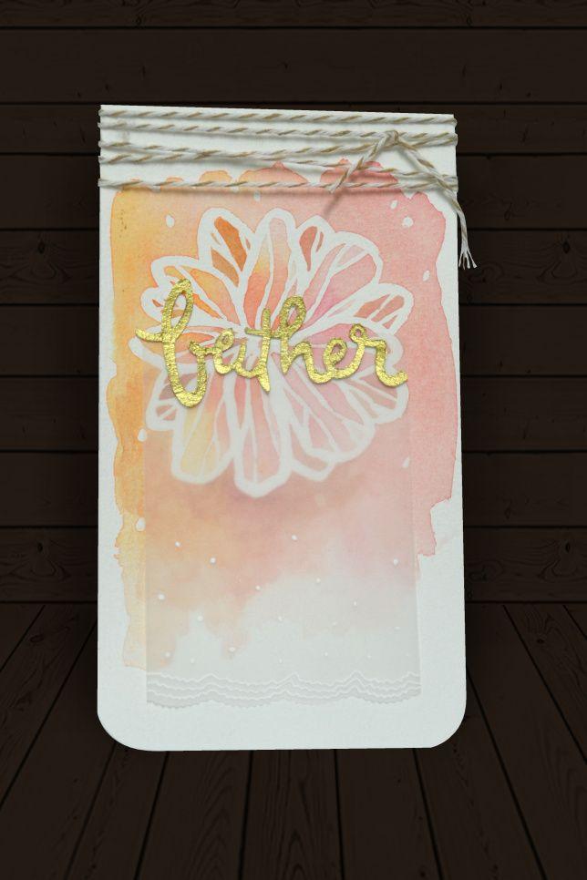 Watercolour Resist Flower Card. Birthday Card.