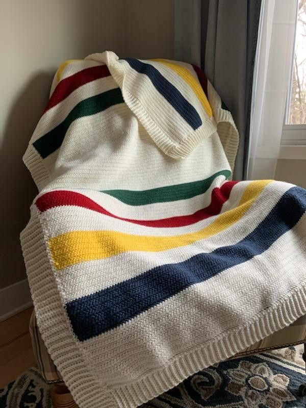 Simple Hudson Bay Style Crochet Blanket In 2020 Half Double Crochet Stitch Crochet Blanket Easy Crochet Blanket