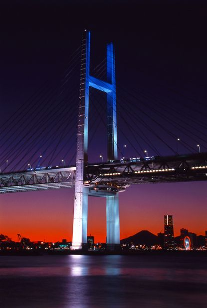 Yokohama Bay Bridge, Japan-  love this view almost as much as I love the Coronado Bridge in SAN.
