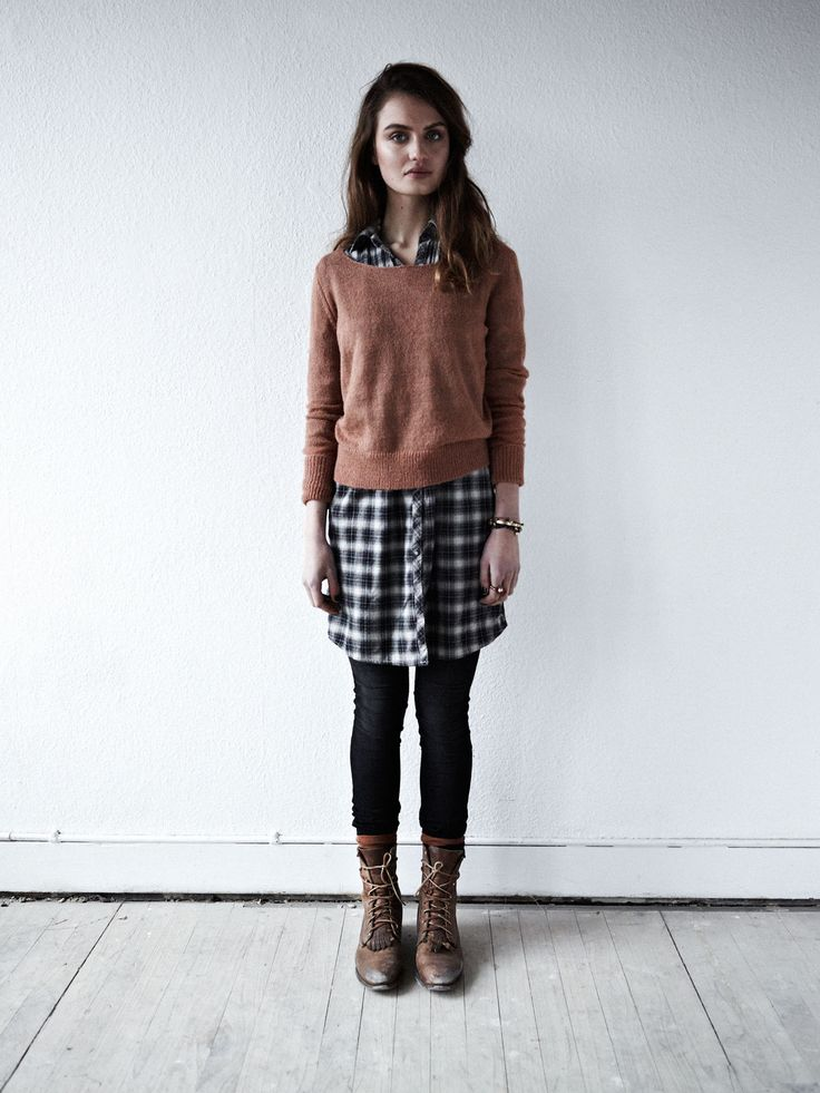like the concept of a knit sweater over a longer plaid shirt dress with tights -not the execution of this particular.