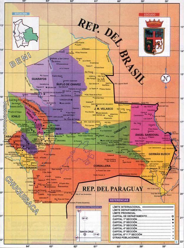 Mapa Politico Del Departamento De Santa Cruz Mapas De Bolivia