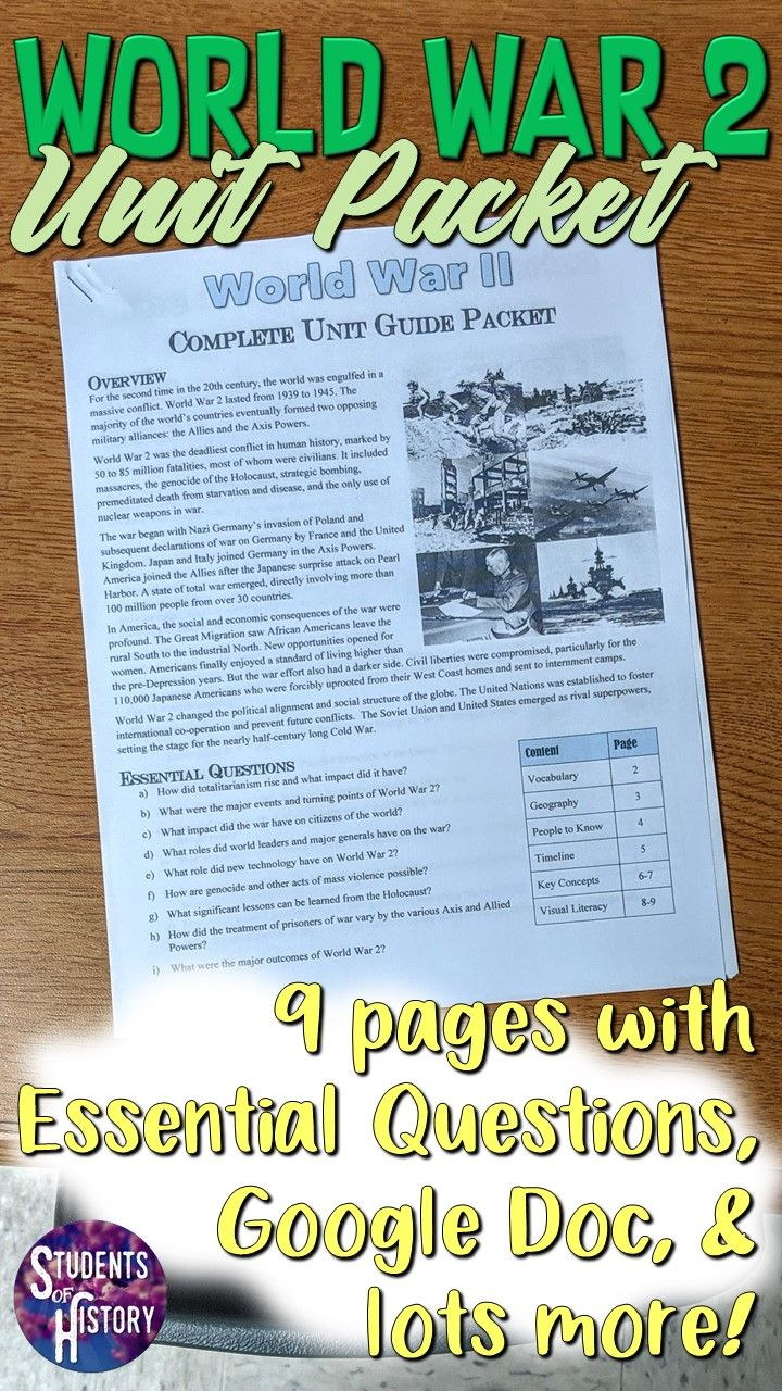 World War 2 Study Guide And Unit Packet World History Teaching Study Guide Teaching History
