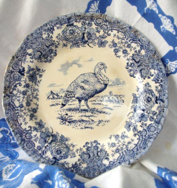 Ridgways Pottery Blue/White Transferware Turkey Plate early 1900s