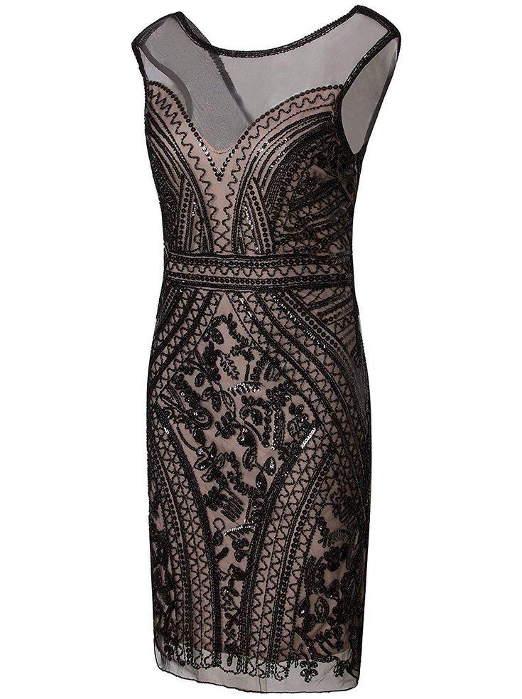 1920s Short Prom Dresses V Neck Inspired Sequins Cocktail Flapper Dress – Large Beige Pink