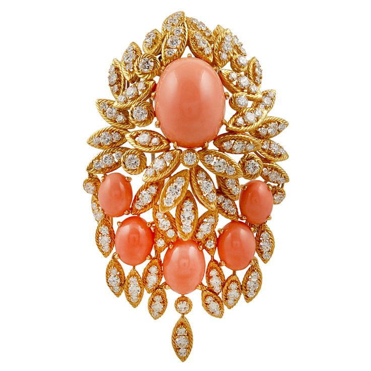 """Van Cleef & Arpels 18kt.yellow gold diamond and coral brooch.  approx. 3 1/2"""" long x 2"""" wide, 1970s"""
