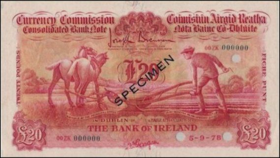 Ploughman Colour Trial £20 Bank of Ireland signed Gargan