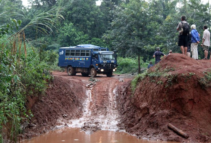 Aminah our #Overland truck goes for a swim in #WestAfrica as we journey through #Guinea