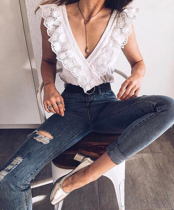 fdff2ac17d8 10 Outfit Essentials You Need For Spring Break - Deep V-neck white lace top  The Best of summer outfits in