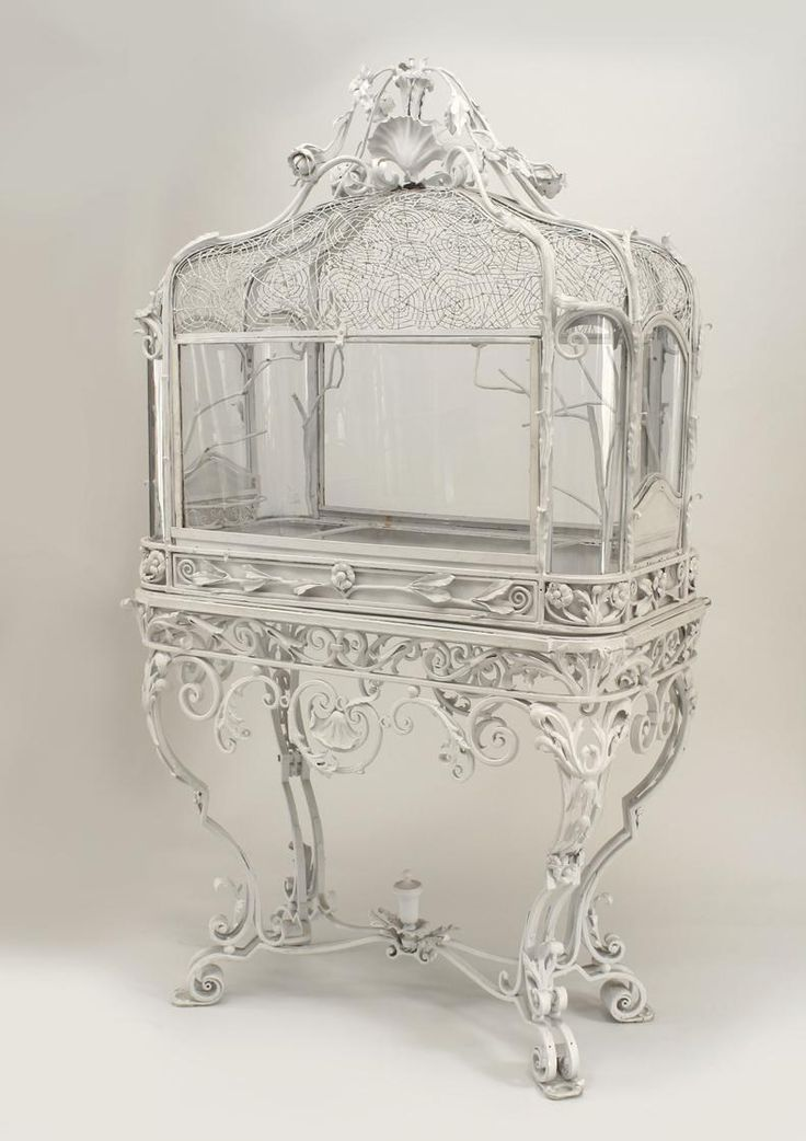 $27,500 French Victorian white painted wrought iron bird cage