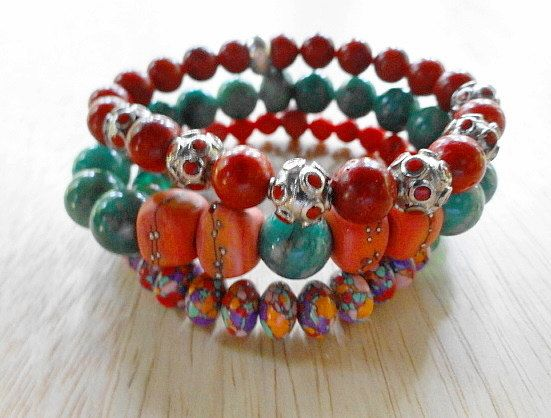 Coral and Aqua Berry Russian Amazonite Bali Beads and Coral Vintage Iridescent Glass and Turkey Turquoise 3 Stack Stretch Bracelet Set by StonyMaronyJewelry on Etsy