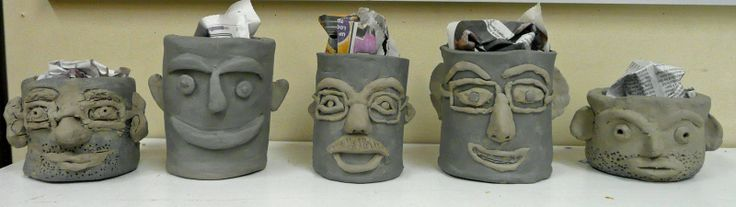from that artist woman blog: charming Father's Day Clay Pots. Plant with grass seed for wacky hair!
