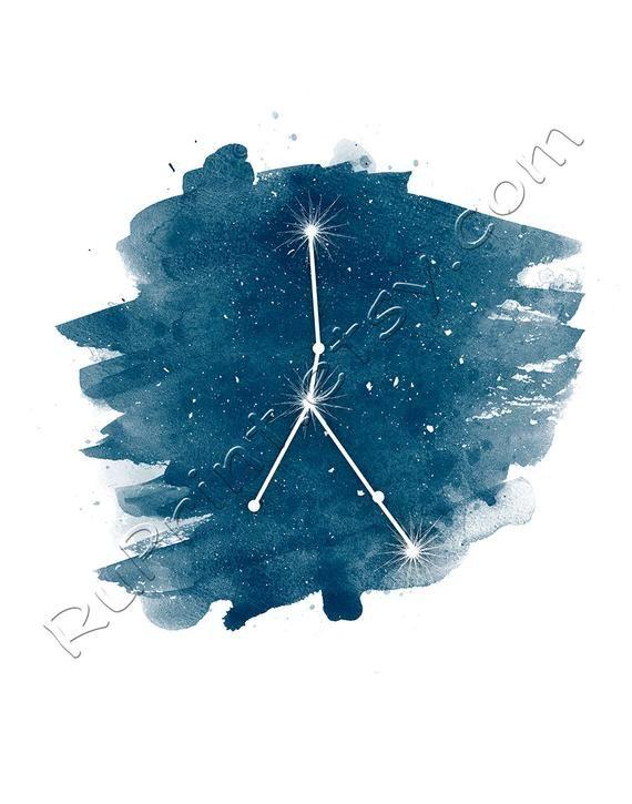Krebs Sternzeichen Stern Zeichen Kunst, Aquarell druckbare Wandkunst, Krebs Konstellation Druck