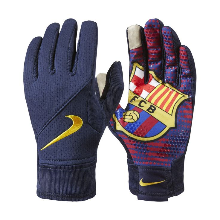 NIKE FC BARCELONA FIELD PLAYER GLOVES TRAINING SOCCER 2014/15 Navy/Team Red/Yellow