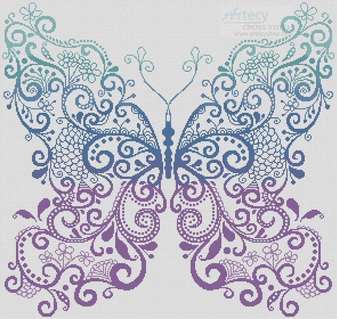 Artecy Cross Stitch. The Purple Blue Green Butterfly Cross Stitch Pattern to print online.