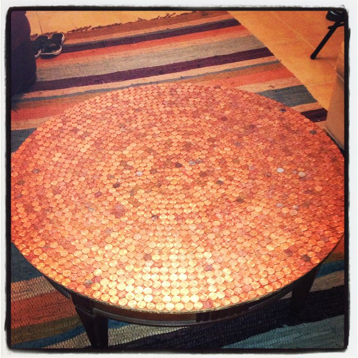 Penny table that I did on a $5 thrift store small coffee table