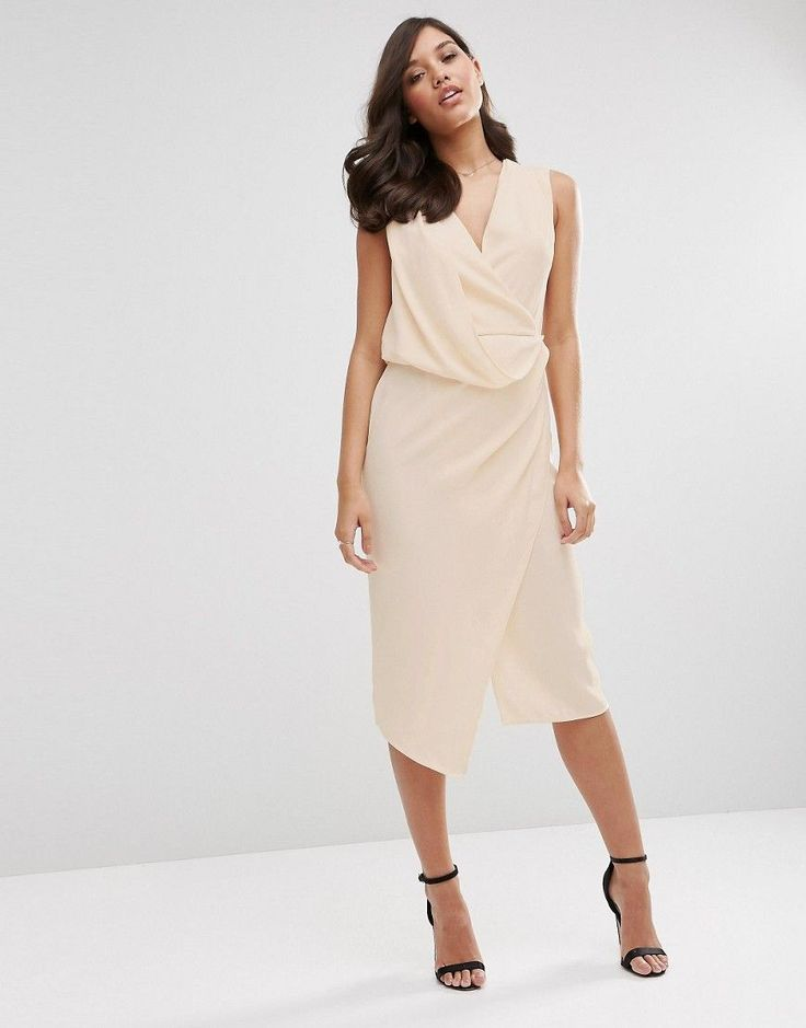 Wrap front midi pencil dress by Asos. Pencil dress by ASOS Collection Lined  crepe Draped design Wrap front V-neckline Front and back sp.