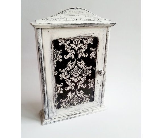 Black and white wooden key box cabinet shabby by MKedraDecoupage, $45.00
