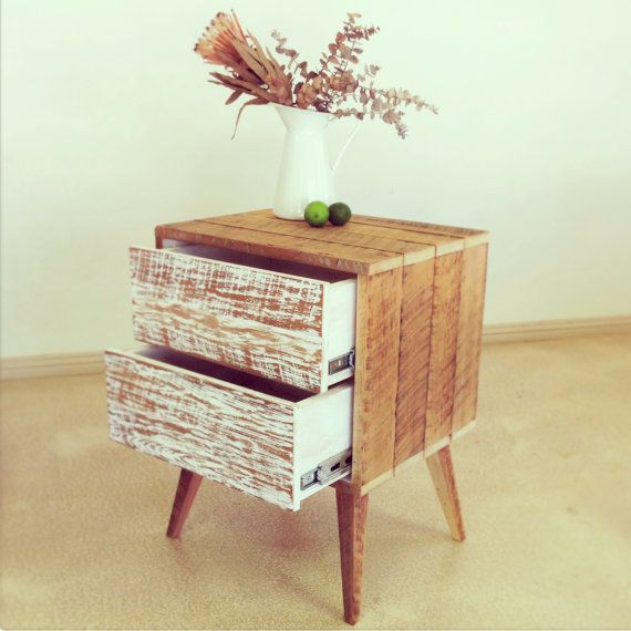 Retro Vintage Shabby Chic Industrial Rustic Country Recycled Solid Timber Wood Handmade Bedside Table / Lamp Table / Side Table in White