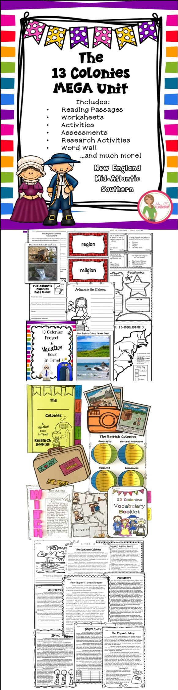 This Unit Has Everything You Could Want For Teaching A Unit On The 13 Colonies Reading Comprehension Worksheets Social Studies Notebook Teaching Social Studies [ 2249 x 582 Pixel ]
