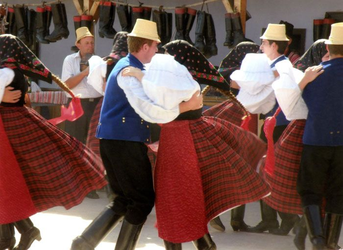 Young couples dance at a 2009 festival in Szék, Transylvania (Romania). While younger generations wear traditional folk costumes only for special occasions, the older generations still prefer them for weekdays and holidays alike.