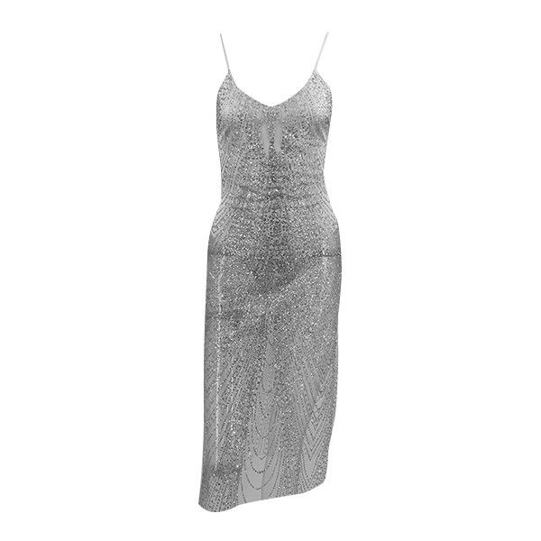 Miracles Happen Silver Glitter Shiny Sheer Metallic Spaghetti Strap... ($70) ❤ liked on Polyvore featuring dresses, body con dress, silver dress, see through dress, metallic silver dresses and backless cocktail dresses