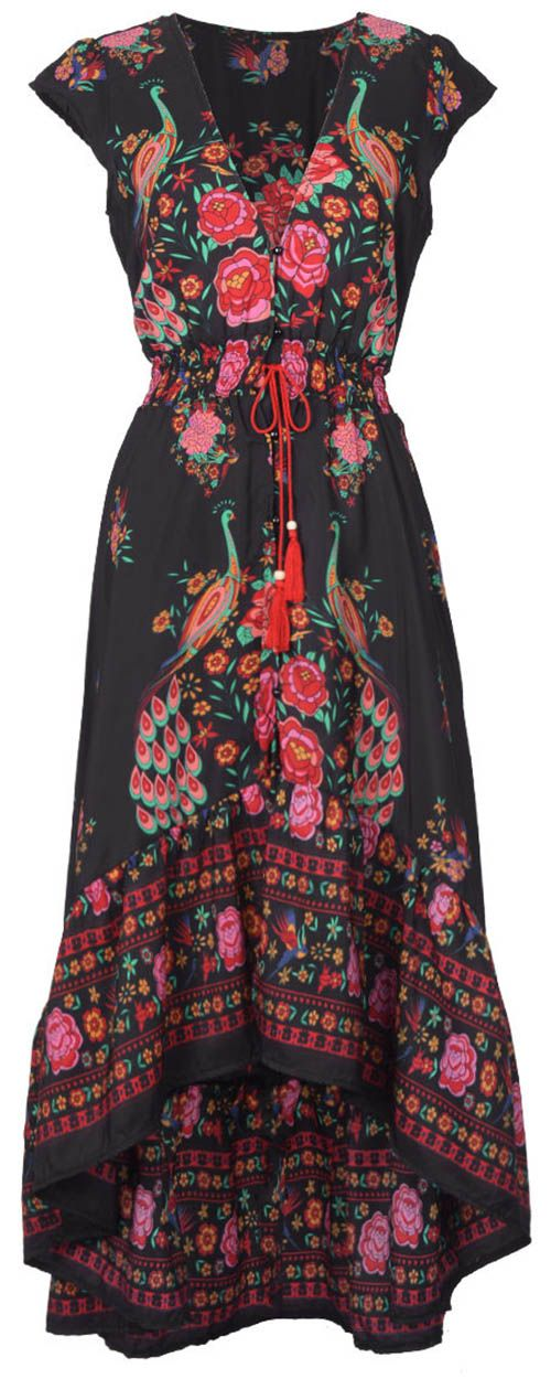 Take this Vintage style with $23.99 Only+free shipping&easy return! This vivid floral printing dress is detailed with button up V-neck design&high low skirt&tie at waist! Show it off with Cupshe design!