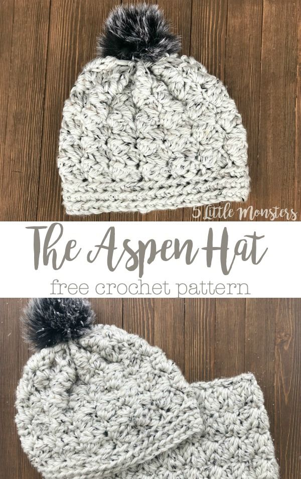 1fb6948332689 The Aspen Hat free crochet pattern. Textured hat made with bulky weight  yarn.