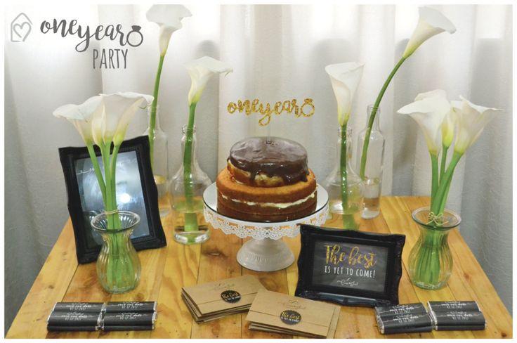 One year party - mini festa para começar a contagem regressiva, falta 1 ano pro casamento #camiejacob   Decor preto e branco e dourado