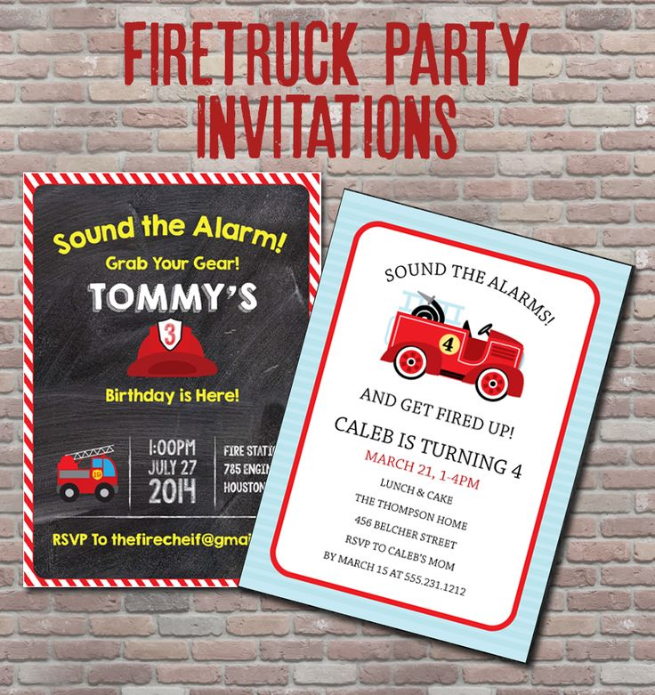 10 best images about Fire truck birthday party – Fire Truck Party Invitations