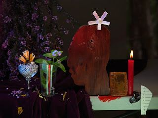Fiona Pardington, Still Life with Taku Tau, Colin's Forget-Me-Nots and a Kauri Gum Bible, from the Colin McCahon Residency, 2013