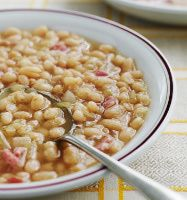 Senate Bean Soup - skeptical on the flaked potatoes, but liking the dry white wine - may use that with the CSMonitor recipe.