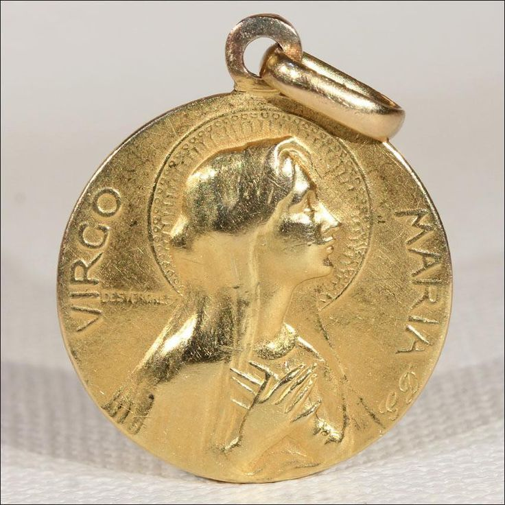 Antique French Virgin Mary Pendant in 18k Gold, Dated 1908